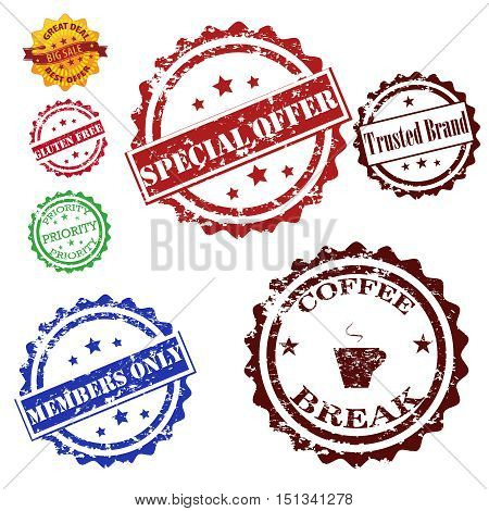 Stamps grunge set vector collection , coffe break,special offer,trusted brand,members only