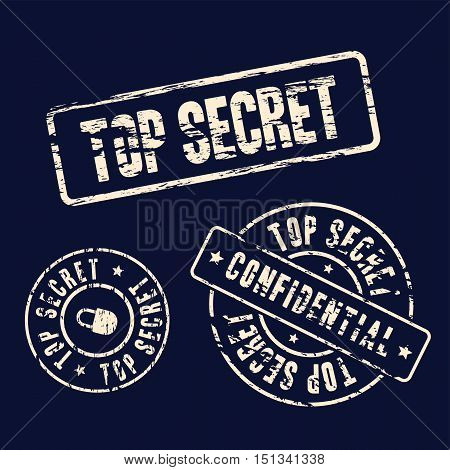 top secret stamp set on dark background abstract vector illustration