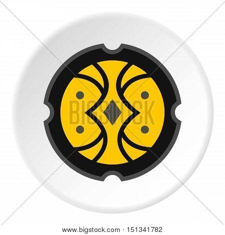 Round battle shield icon. Flat illustration of shield vector icon for web design
