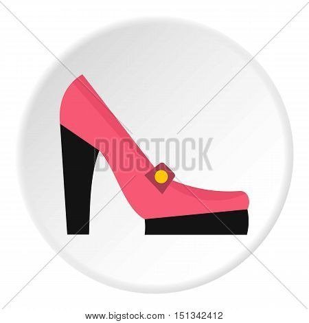 Pink woman shoe icon. Flat illustration of shoe vector icon for web design