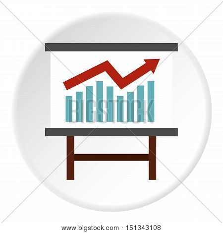 Table with statistics icon. Flat illustration of table with statistics vector icon for web