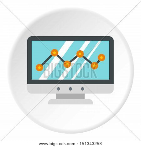 Statistics on monitor icon. Flat illustration of statistics on monitor vector icon for web