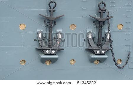 Close-up of anchors of the cruiser Aurora