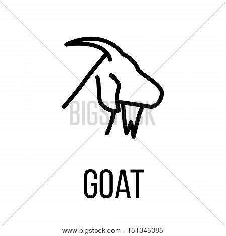 Goat icon or logo in modern line style. High quality black outline pictogram for web site design and mobile apps. Vector illustration on a white background.