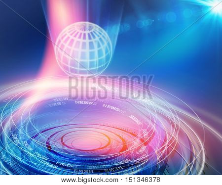 Global Business Communication News Abstract Background Connecting Networking; Data Transfering Multiple Circles and Lines Moving Fast Around the Grid Earth Globe in Fornt of Blue Background with Lens Flare.