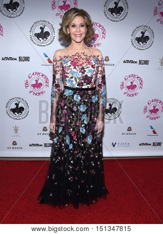 LOS ANGELES - OCT 8:  Jane Fonda arrives to the Carousel of Hope 2016 on October 8, 2016 in Hollywood, CA