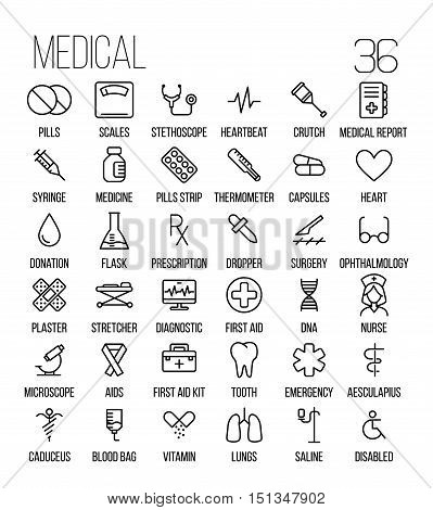 Set of medical icons in modern thin line style. High quality black outline medicine symbols for web site design and mobile apps. Simple linear health care pictograms on a white background.