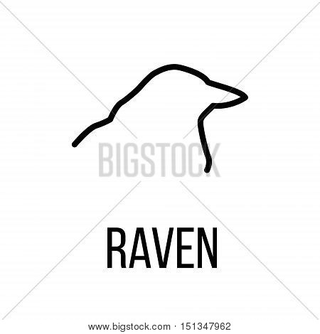 Raven icon or logo in modern line style. High quality black outline pictogram for web site design and mobile apps. Vector illustration on a white background.