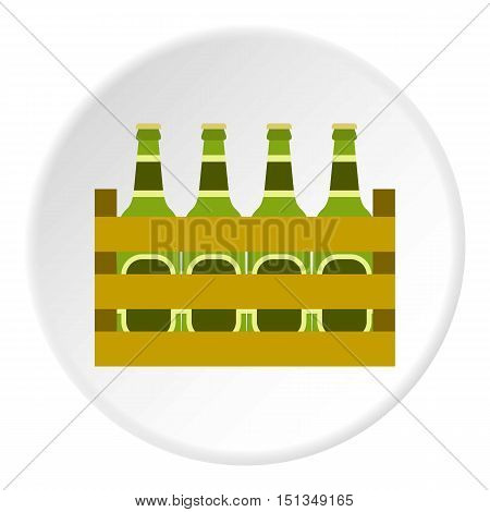 Beer bottles in wooden box icon. Flat illustration of beer bottles in wooden box vector icon for web