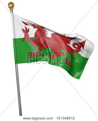 National flag for country of Wales isolated on white background, 3D rendering