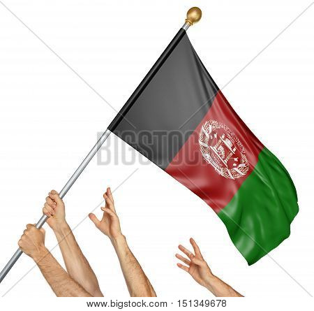 Team of peoples hands raising the Afghanistan national flag, 3D rendering isolated on white background