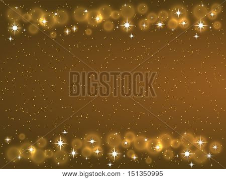 Frame with stars on the dark background, sparkles golden symbols - star glitter, stellar flare. Vector illustrations