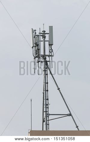 televisions antennas communication with clear sky background.