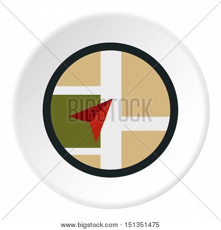 Pointer on map icon. Flat illustration of pointer on map vector icon for web