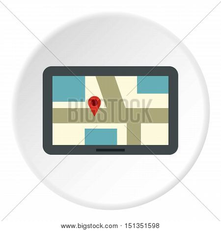 Tablet with map of area icon. Flat illustration of tablet with map of area vector icon for web