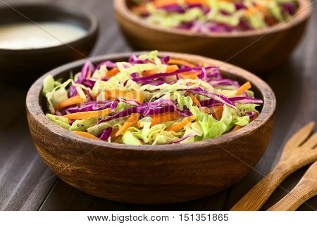Fresh coleslaw a salad made of shredded red and white cabbage and carrots served in wooden bowls with sauce in the back photographed with natural light (Selective Focus Focus one third into the salad)