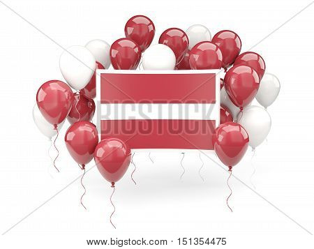 Flag Of Latvia With Balloons