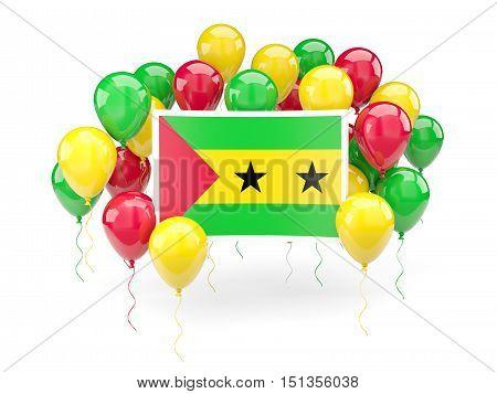 Flag Of Sao Tome And Principe With Balloons