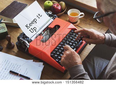 Journalism Working Typewriting Workspace Concept