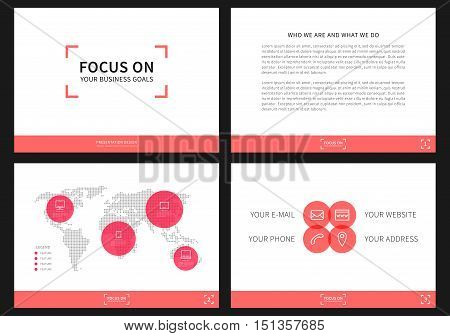 Presentation vector layout for corporate documents annual report business proposal book cover. Modern appearance presentation design with infographic elements. Horizontal presentation slides with bars charts diagrams graphs. A4 page easy to edit.