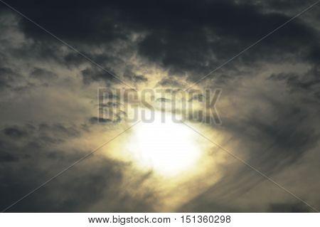 sun behind dark cloud look like eye on the sky