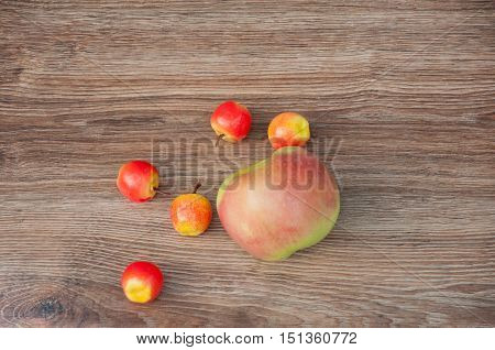 One big and six small apples laying on brown wooden table. Top view. Space for text