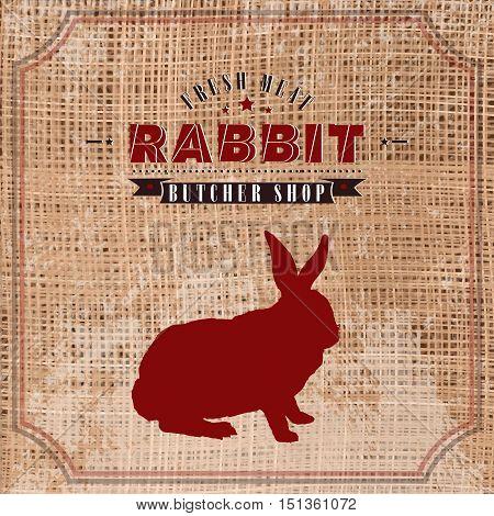 Rabbit butcher shop vintage emblem meat products template retro style. Rabbit butchery label on grunge burlap background vector
