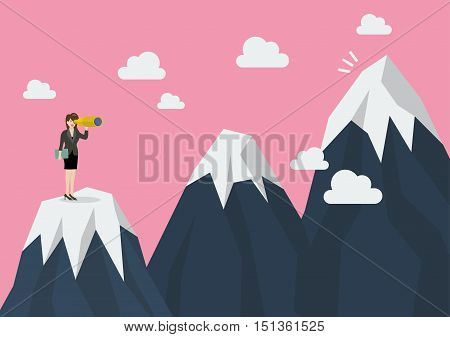 Business woman looking for mountain peak. Flat style design