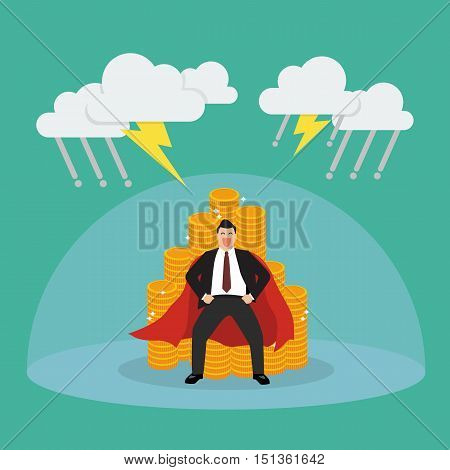 Superman with barrier protecting her money from thunderstorm. Vector Illustration