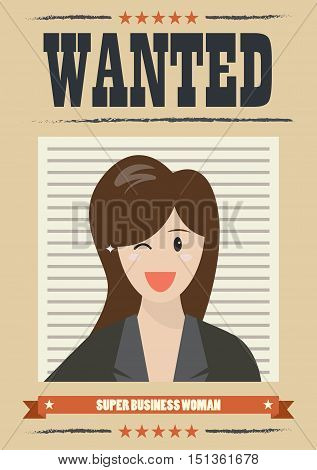 Wanted business woman. Wanted Vintage Poster vector illustration