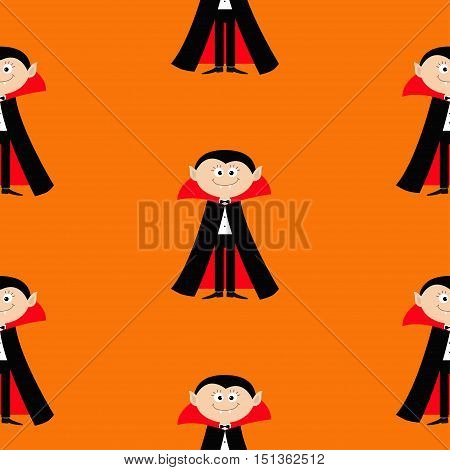Seamless Pattern Count Dracula. Cute cartoon vampire character with fangs. Happy Halloween texture. Flat design. Orange background. Vector illustration.
