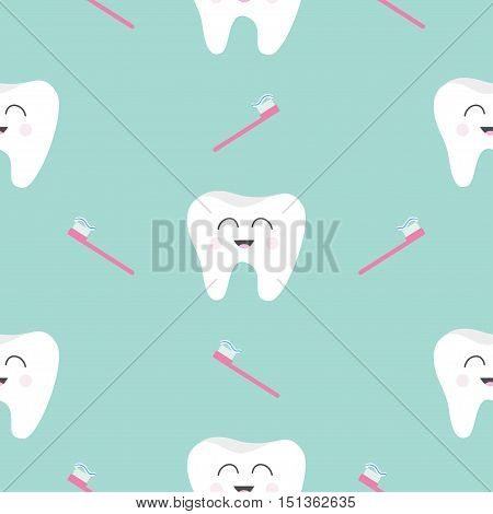 Seamless Pattern Brush Tooth health. Cute funny cartoon smiling character. Oral dental hygiene. Children teeth care. Baby texture. Flat design. Blue background. Vector illustration.