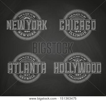 Linear logos for New York, Chicago, Atlanta, Hollywood on chalkboard background