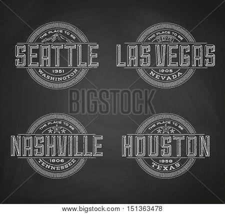 Linear logos for Las Vegas, Seattle, Nashville, Houston on chalkboard background
