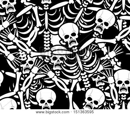 Sinners Seamless Pattern. Skeleton In Hell Background. Ornament Of Dead. Bones And Skull Texture. In