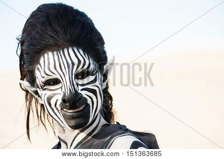 Happy smiling futuristic human zebra woman close-up