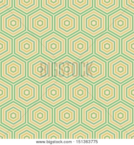 Geometric fine abstract vector hexagonal background. Seamless modern golden and green pattern