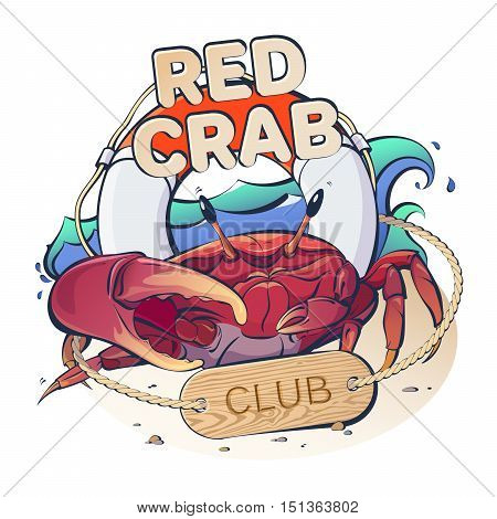 Creative vector logo marine theme with a red crab and life buoy on a background of waves with the inscription: Red Crab Club