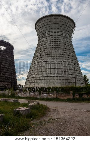 Cooling towers of the cogeneration plant in Kyiv Ukraine.