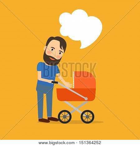 Father care for the child cartoon icon. Vector illustration