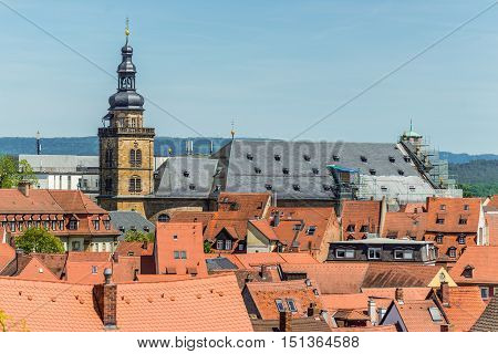 View of the roofs and St. Martin Church in Bamberg city in Bavaria Germany. The city is under the UNESCO protection.