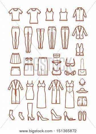 Womens clothing, female fashion line vector icons set. Shirt and shoes, skirt and lingerie illustration