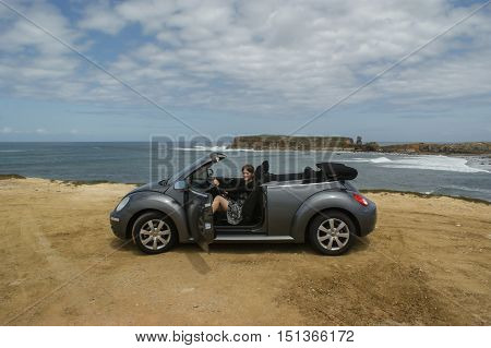 Atlantic Ocean, Portugal, April 25, 2011, a trip to the Volkswagen New Beetle for Portugal, Volkswagen Beetle is a compact convertible from Volkswagen company