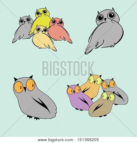 Set of cute colorful owls sitting in groups and separately. Can be used for greeting cards, fabric, book illustration.