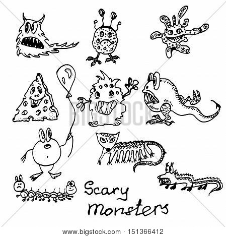 Hand drawn ink black and white cartoon monster's set.