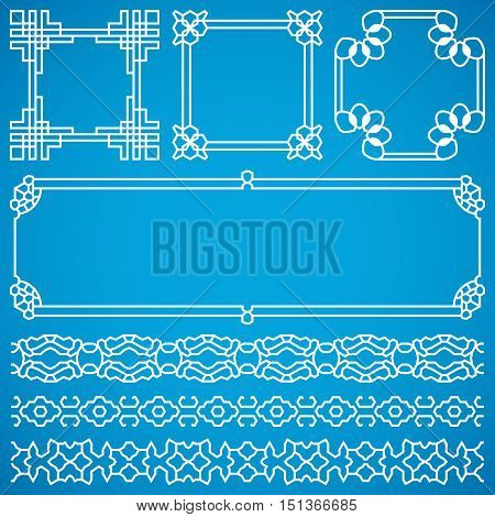 Chinese decorative vector frames and borders with oriental ornament. Oriental traditional element for design illustration
