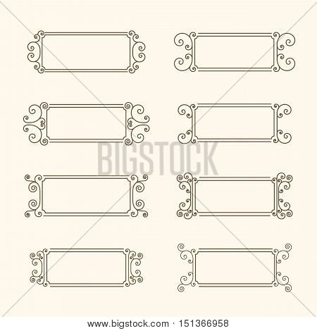 Set of vintage frames. Frame with swirls and decor of the leaves. Decorative frame for banners, invitations, greeting cards, business cards. Monochrome frame in vintage style. Vector illustration