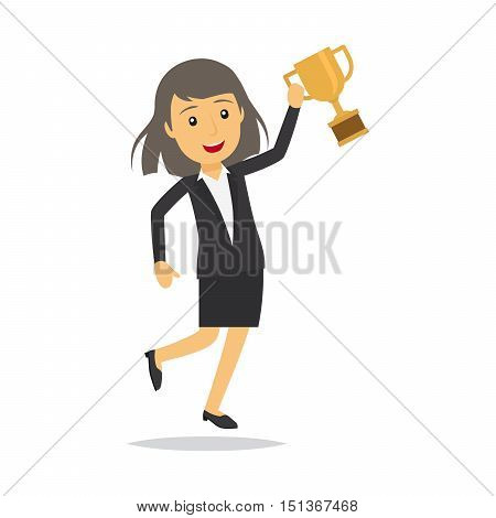 Businesswoman with top honour isolated character vector illustration