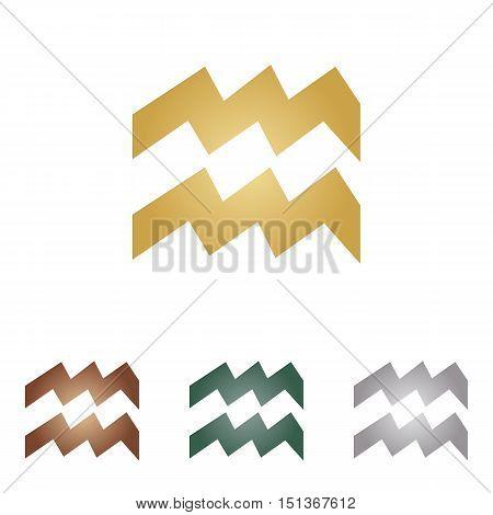 Aquarius Sign Illustration. Metal Icons On White Backgound.