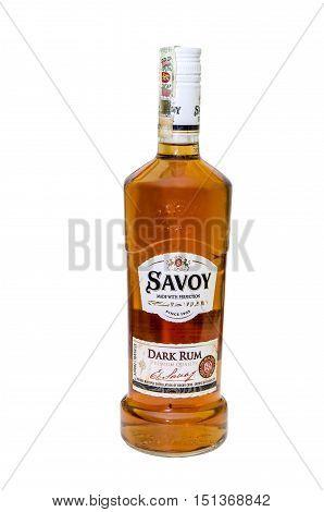 Ternopil Ukraine - October 1 2015: Savoy dark rum isolated on white background. It's traditional rum of Bulgaria